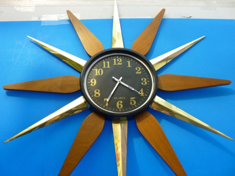 Vintage Sunburst Starburst Battery Operated Wall Clock