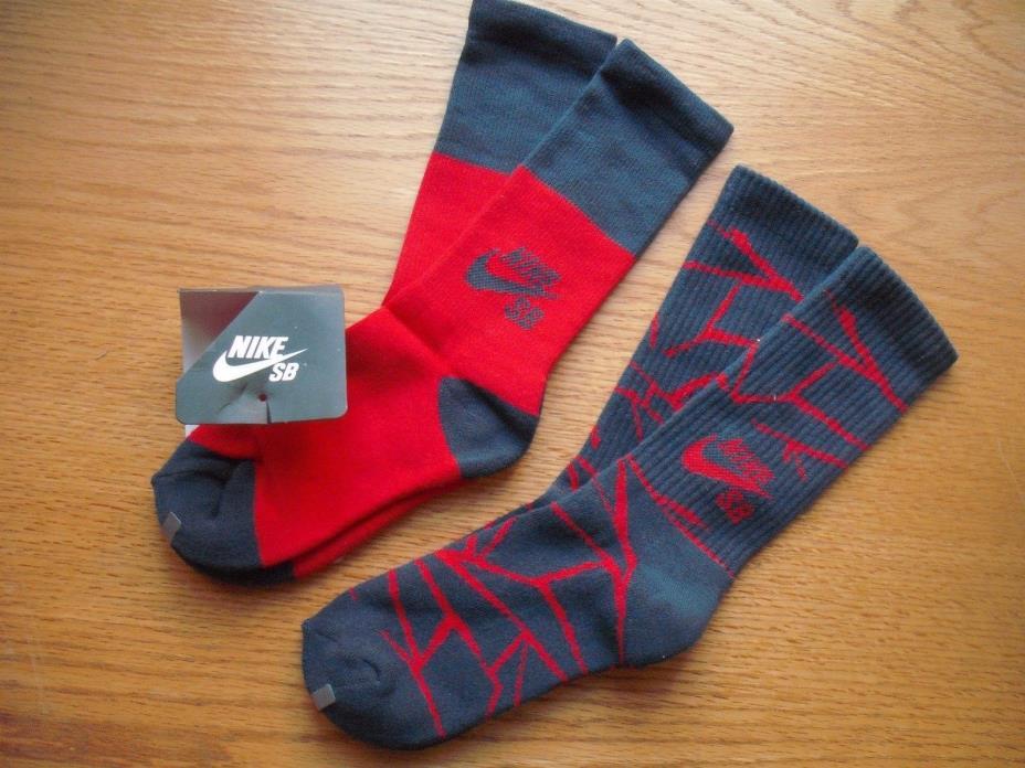Boys NIKE SB NWT Crew Socks 2prs Blue Red Geometric Cushioned Sz:YLG Ages 8-11