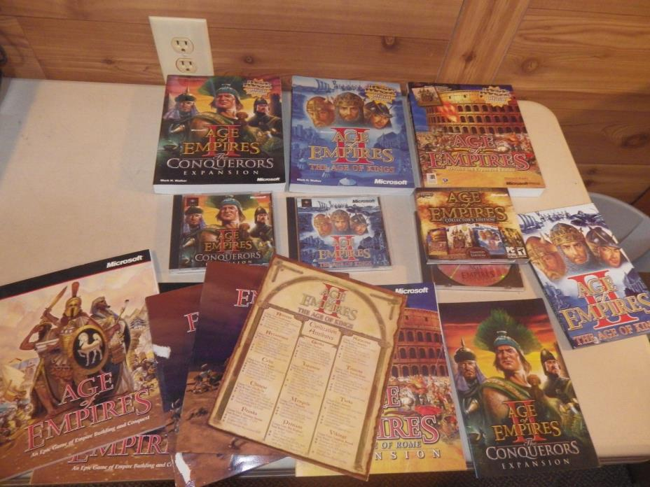Age of Empires II PC Game Lot, Conquerors Expansion, Age of Kings, Guides, MORE