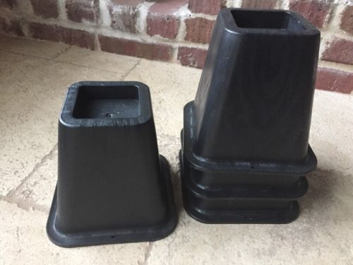 Set of 4 Square Black 6 Inch Plastic Furniture Risers Bed Lifts