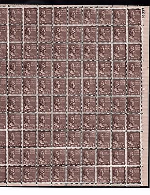 US MINT SHEET SCOTT#812, 7C STAMP ANDREW  JACKSON  SHEET OF 100 MNH OG
