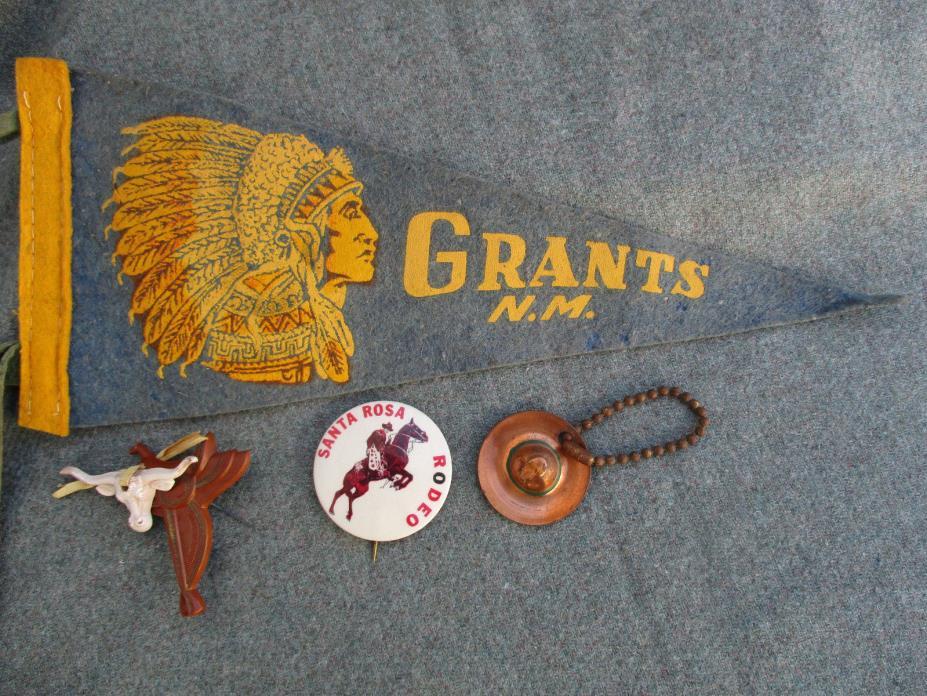 VINTAGE 1940s-50s SANTA ROSA RODEO VERNON TX PIN GRANTS N.M. WESTERN PENNANT