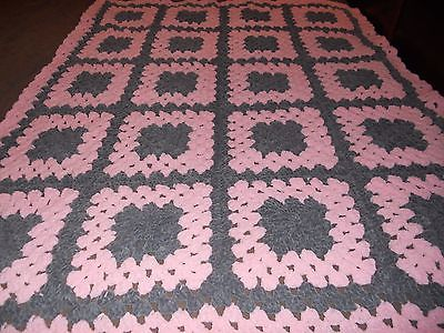 hand made baby pink grey granny aproxamately 39 wide and 46 long.