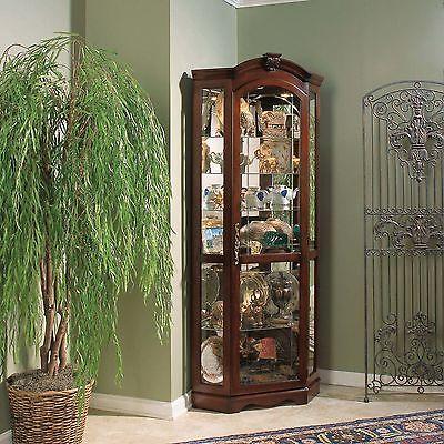 Darby Home Co Purvoche Corner Curio Cabinet