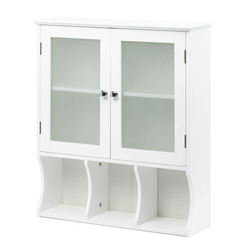 White Wall Storage Cabinet Aspen with Frosted Glass Slim Casual Space Saver