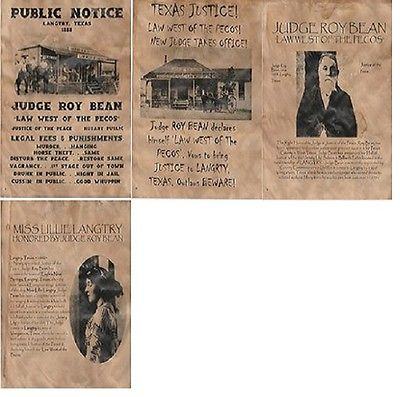 JUDGE ROY BEAN WANTED OLD WEST WESTERN OUTLAW LAW JUDGE SALOON
