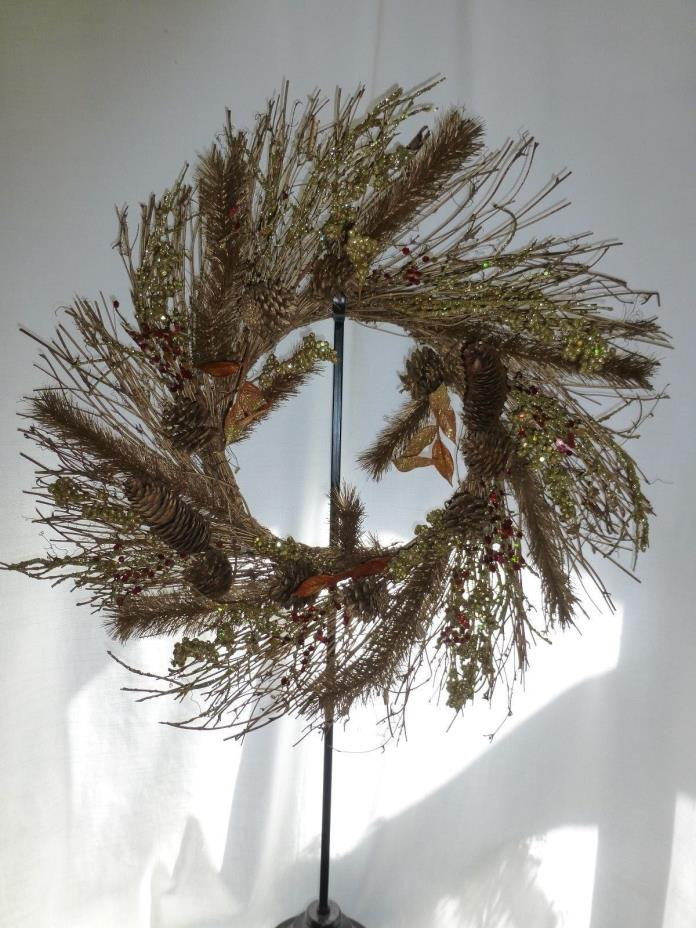 Rustic grape vine gold Wreath with pinecones twigs berries 23.5