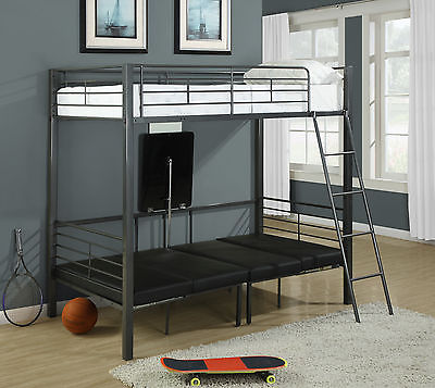 Monarch Twin Size Bunk Bed in Charcoal Grey Finish I 2236