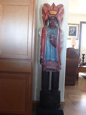 Vintage 5' Tall Carved Wooden Cigar Store Indian Sculpture