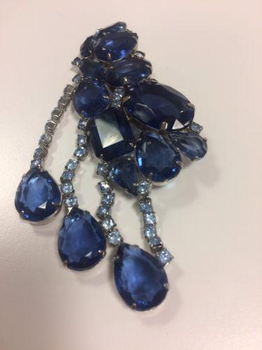 Dramatic Juliana De Lizza & Elster Blue Rhinestones Large Brooch Dangles