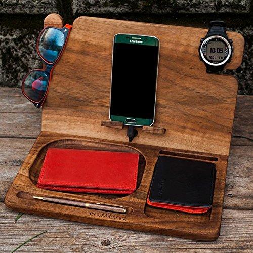 ecoWalnut Organizer, Watch, Phone, Key, Wallet Holder, Docking Station, Pen