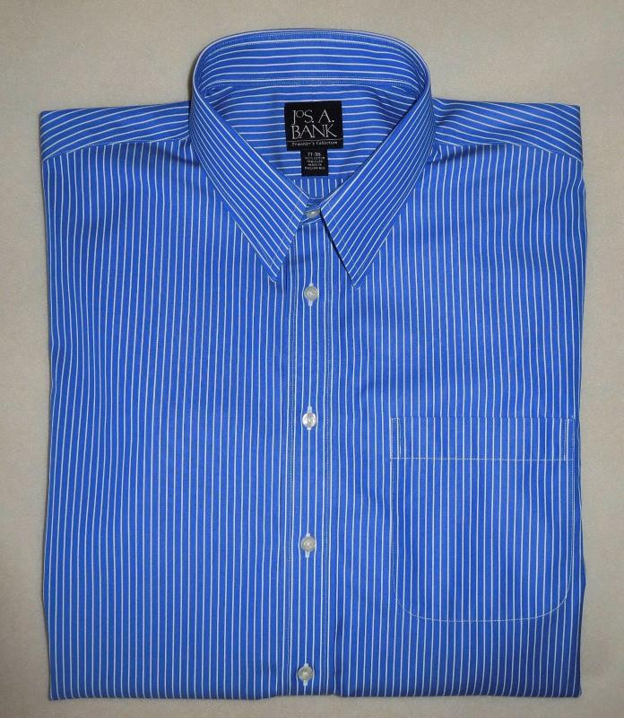 Men's JOS. A. BANK 100% Cotton Blue Striped Long Sleeve Dress Shirt 17 35
