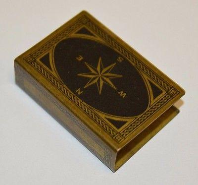 Antique Vintage Nautical Ship Compass Brass Black Matchbook Holder Case Rare