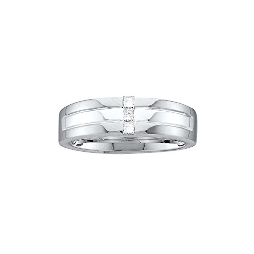 14kt White Gold Mens Princess Channel-set Diamond Single Row Wedding Band Ring