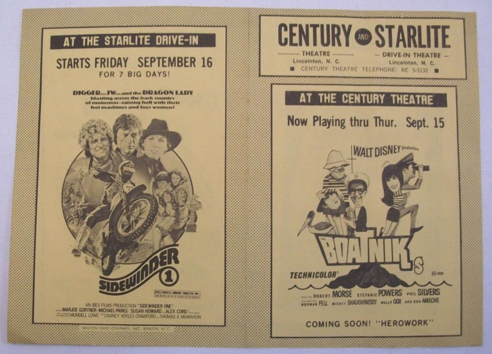 Vintage Century Theater Starlite Drive In Flyer Lincolnton NC