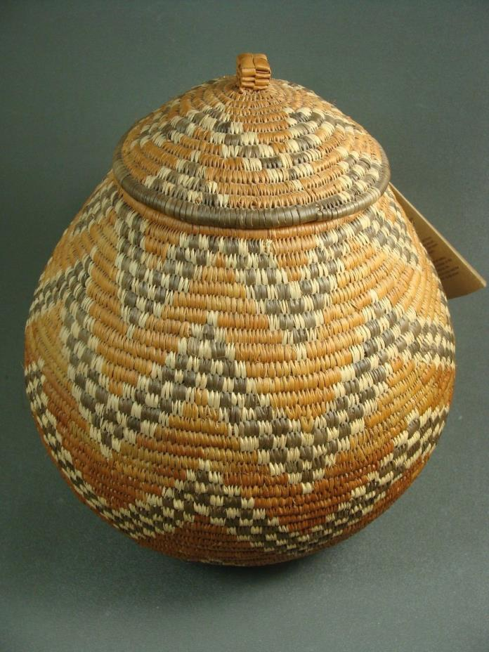 Hand Woven Traditional Zulu Basket with Lid & Signed Tag - Modern Fair Trade