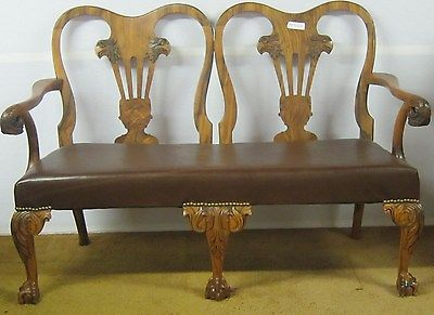 Antique Carved Eagle Settee