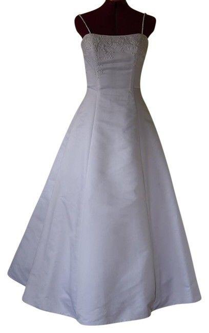 white Wedding Women's Dress Formal taffeta Embroidery straps  size 14 Must Go