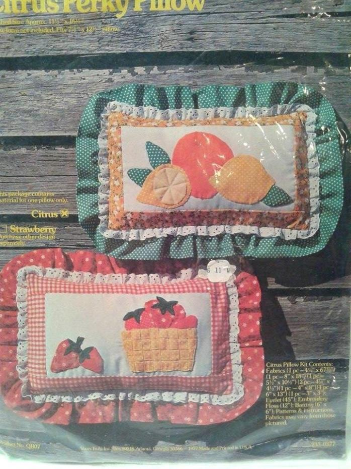 Vintage 1977 Citrus Perky Pillow Sewing Quilt Craft Kit Yours Truly New