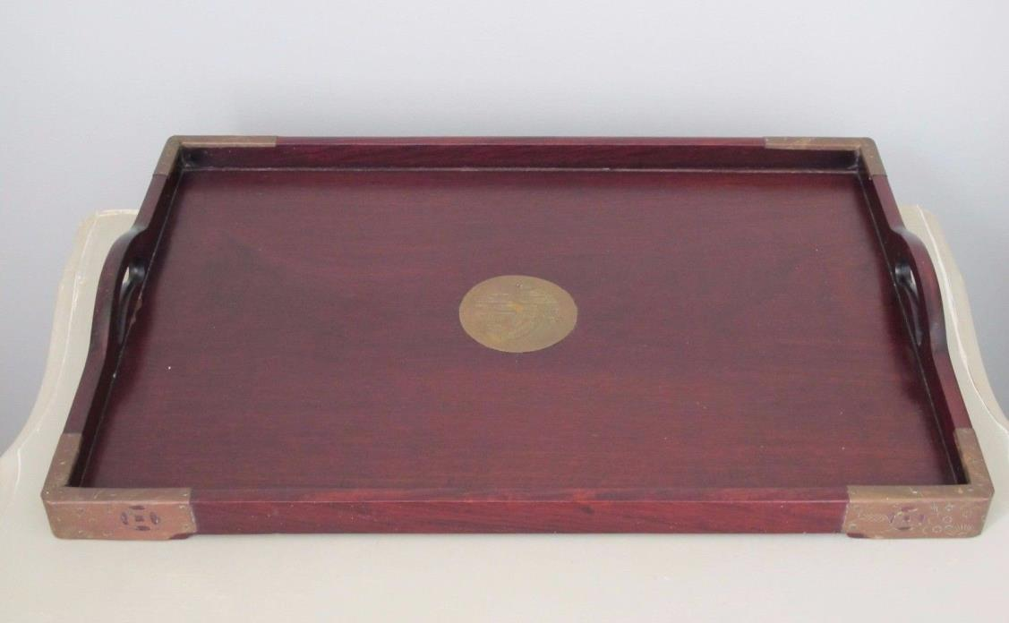 Vintage Chinese Chinoiserie Style Wood Tray w/ Brass Mounts, Hollywood Regency