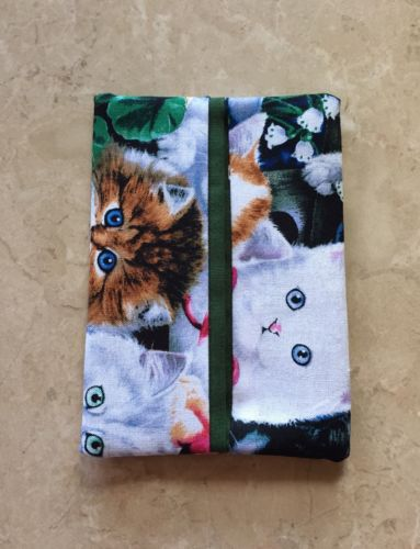 Kitten Fabric Tissue Holder for Purse or Pocket, Handmade