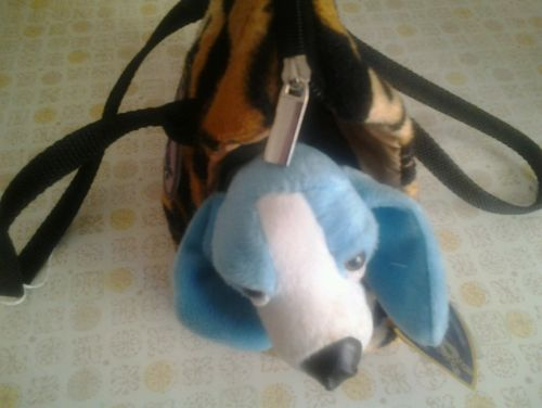 Girls leopard animal bag blue stuffed puppy included