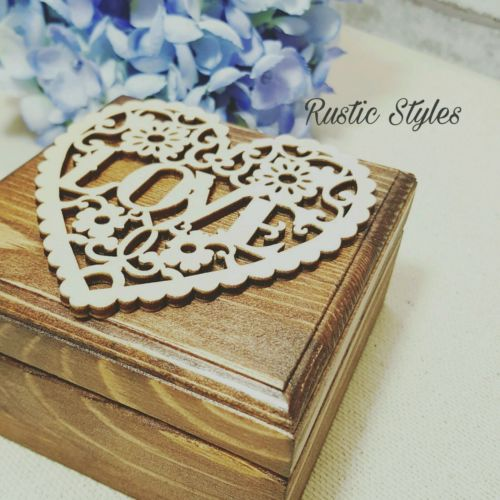 Rustic Wedding Ring Bearer Box Personalized with Initial/ Pillow Woode Ring Box