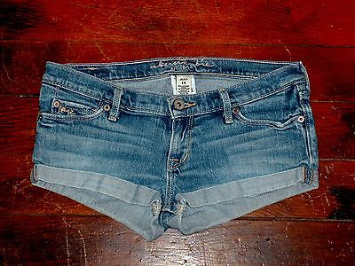 Trendy Abercrombie logo denim blue jeans shorts Sz 14