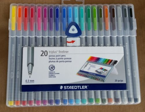 STAEDTLER TRIPLUS FINELINER 20 PACK  POROUS POINT PENS ASSORTED COLORS 0.3 mm