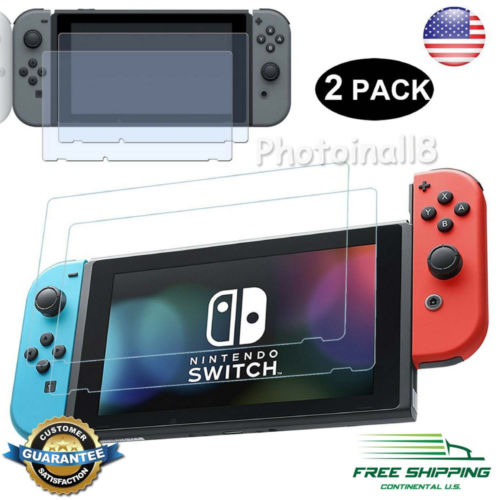 US 2PCS For Nintendo Switch Screen Protector Tempered Glass PET Film Screen Prot