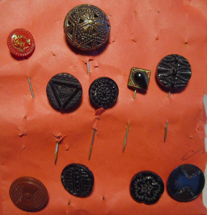 Buttons Black Glass Fancy Antique stick pin upcycle vintage carved Victorian 10