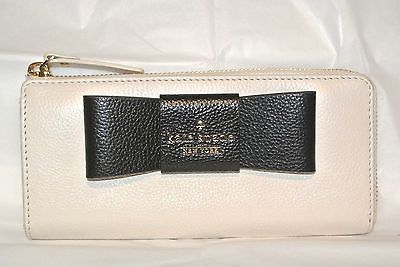NWT Kate Spade Nisha zip wallet clutch Julia St Cream leather with black bow