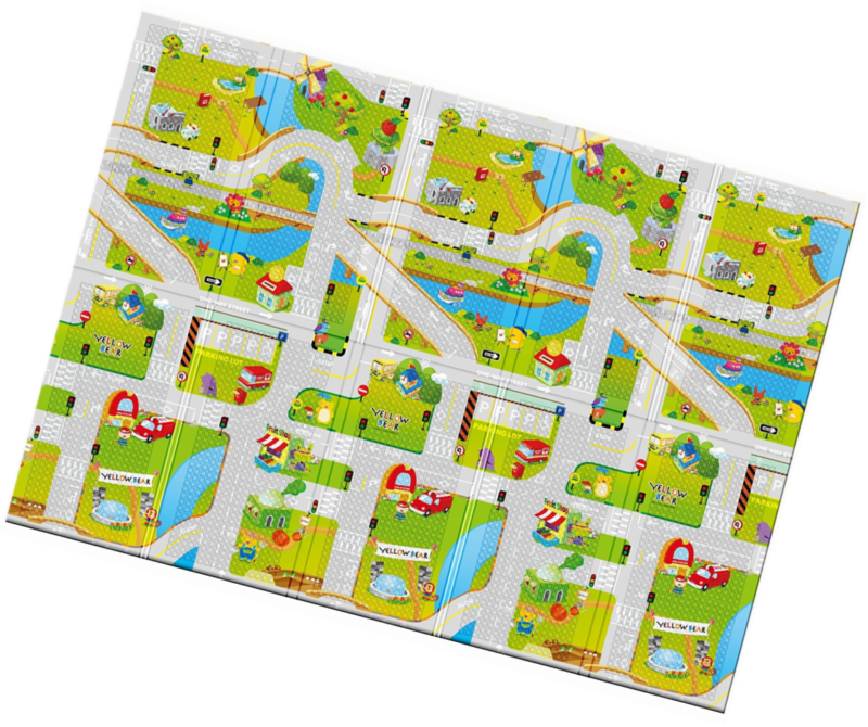 Portable Folding Play Mat -Play Road Size 55