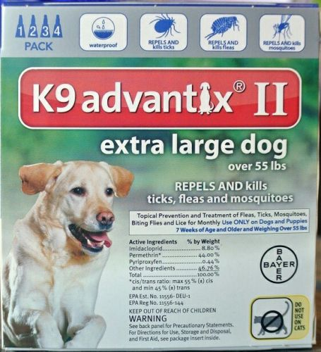 K9 Advantix II Extra Large Dogs (Over 55 lbs, 4 Month Pack) USA EPA APPROVED
