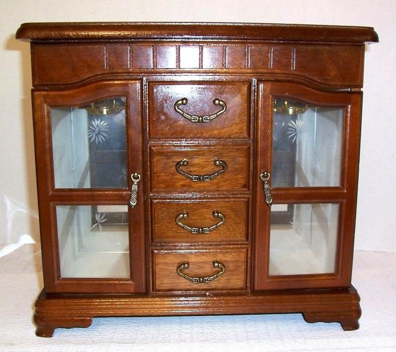 Wood Jewelry Dresser Top Cabinet 4 Drawer,FlipTop Mirror Section 2 Glass Doors