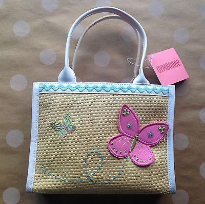 NWT Gymboree PALM SPRING Pink Butterfly Straw Purse