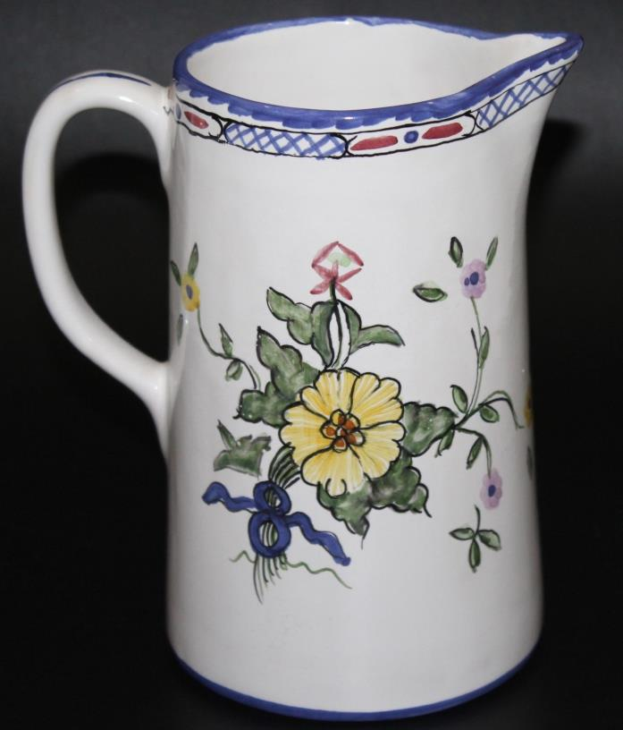 TIFFANY & Co. Vintage Lisbon Hand Painted in Portugal Floral Design Pitcher