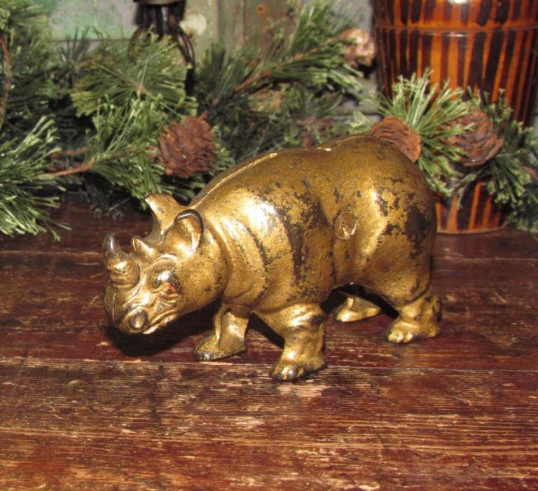Original Antique Vtg 1910 to 1925 Arcade Cast Iron Rhino Rhinoceros Penny Bank