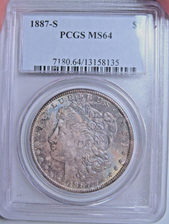 1887-S RAINBOW TONED MORGAN SILVER DOLLAR~PCGS MS64~SCARCE KEY DATE WITH COLOR *
