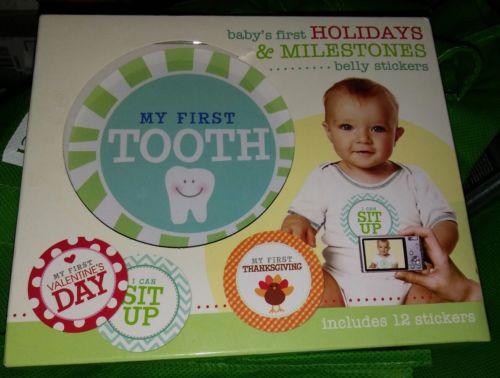 My 1st Holidays & Milestones Baby Photo Onesie Stickers.