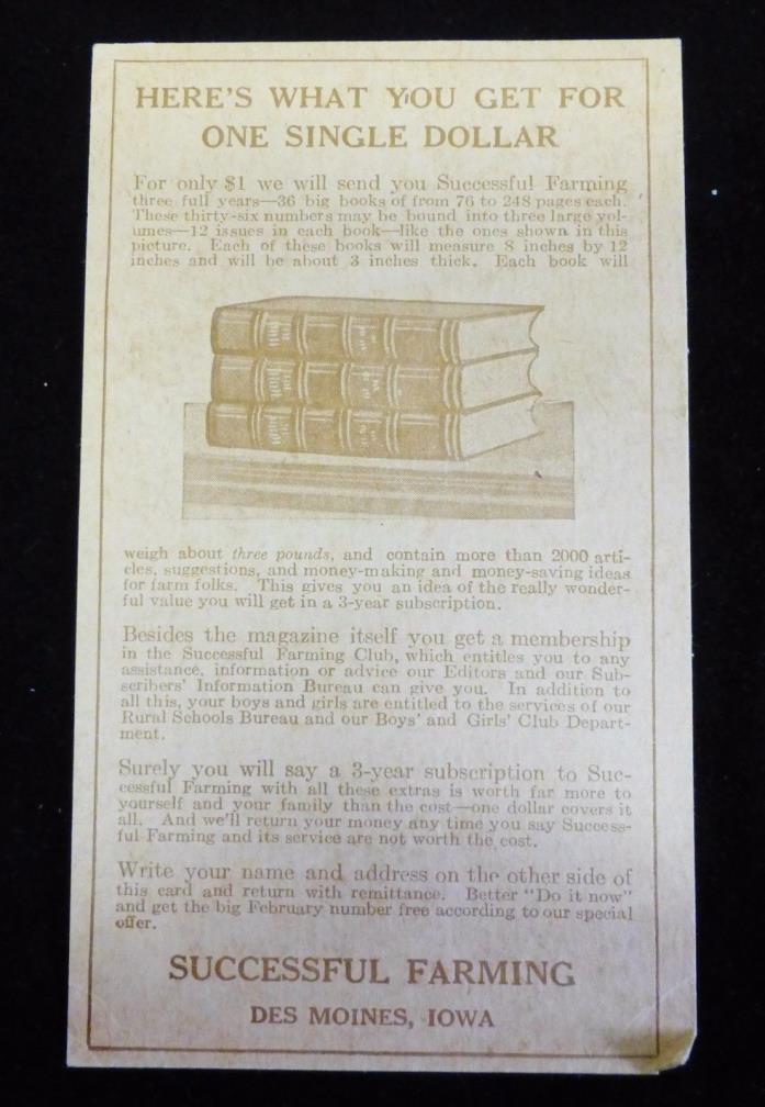 Early Original Successful Farming Magazine Subscription Advertising Card