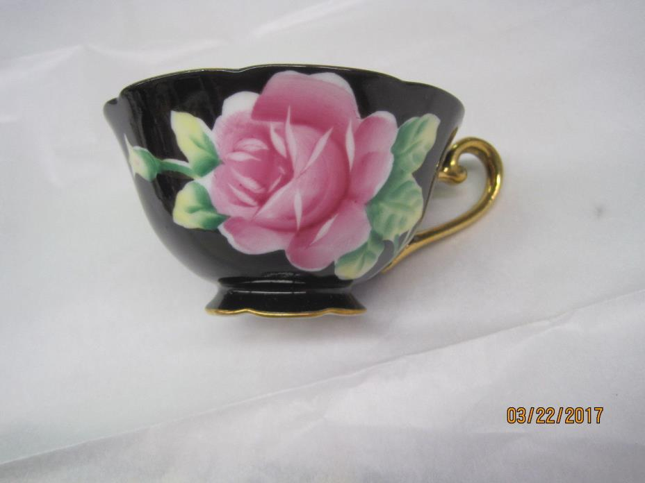 Occupied Japan  Hand Painted Cup Saucer Black Pink Rose