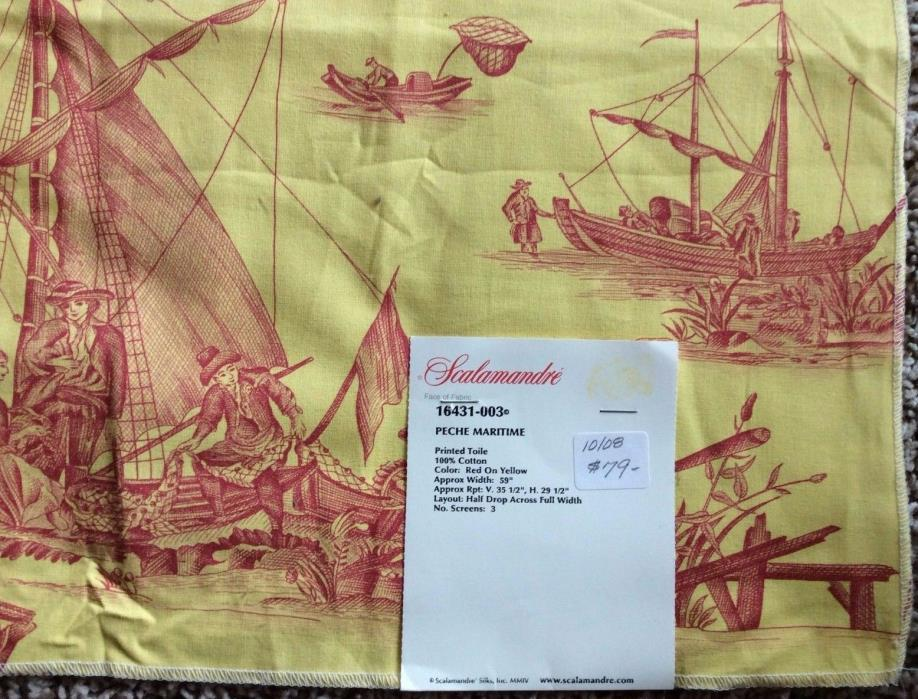 2008 USA Scalamandre Yellow Toile Fabric Sample Pech Maritime Nautical Boats