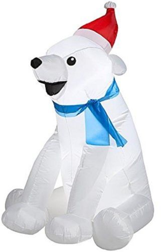 CHRISTMAS INFLATABLE BABY POLAR BEAR WITH SANT HAT and SCARF