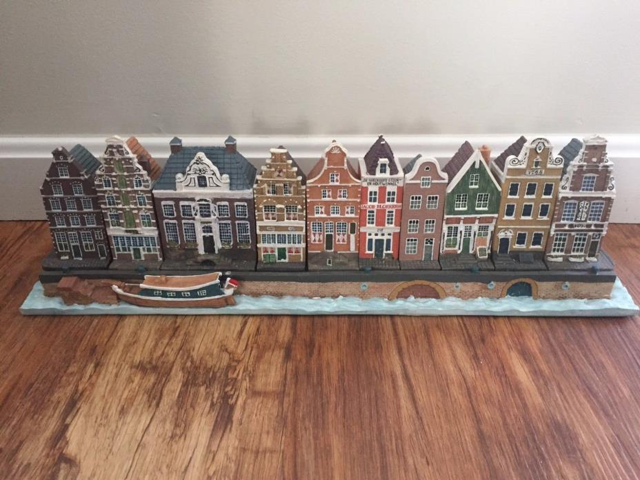 Collectible Amersterdam Canal Houses - Set of 10 with Canal panel & boat