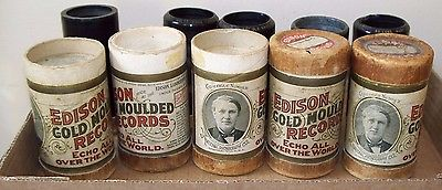 ANTIQUE 1904 EDISON GOLD MOULDED RECORDS SET OF 5