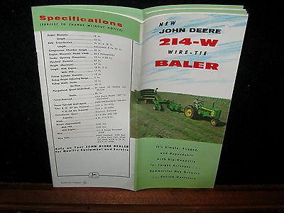 Vintage 1958 John Deere JD 214-W Wire Tie Baler Sales Brochure Farm Advertising