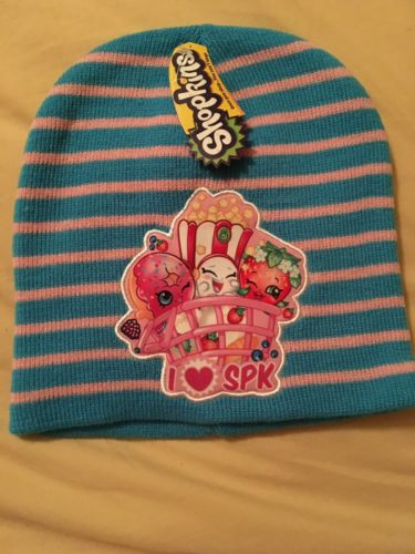 New Shopkins Blue Pink Stripe Knit Beanie Cap Hat Free Shipping Girls