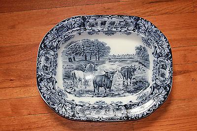 Antique 19th Century Wedgewood Flow Blue Cow Platter