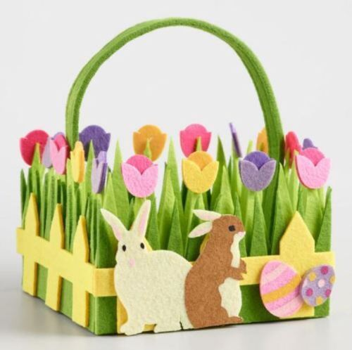 New Large Green Pink Purple Yellow Felt Easter Basket with Bunny, Eggs & Tulips